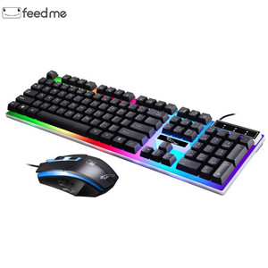 Image 1 - Wired USB Light Mouse and Keyboard Set Computer Mechanical Feel Backlit Keyboard