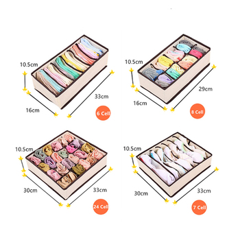 Foldable Non-Woven Storage Boxes Set Ties Bra Socks Draw Divider Container For Underwear Organizer