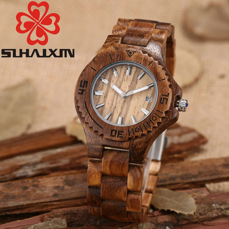 SIHAIXIN Wood Quartz Women Watches Top Brand Luxury Leather Strap Cheap Womens Watches With Wooden Fashion Dresses Ladies Watch sihaixin small wood watch women wristwatches with genuine leather bamboo wooden watch ladies casual quartz female best clock de