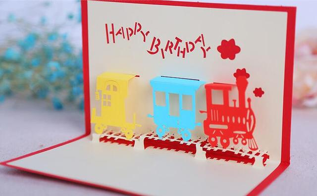 Birthday Cards Cartoon ~ 3d cut paper sculptures stereo train shaped birthday card handmade
