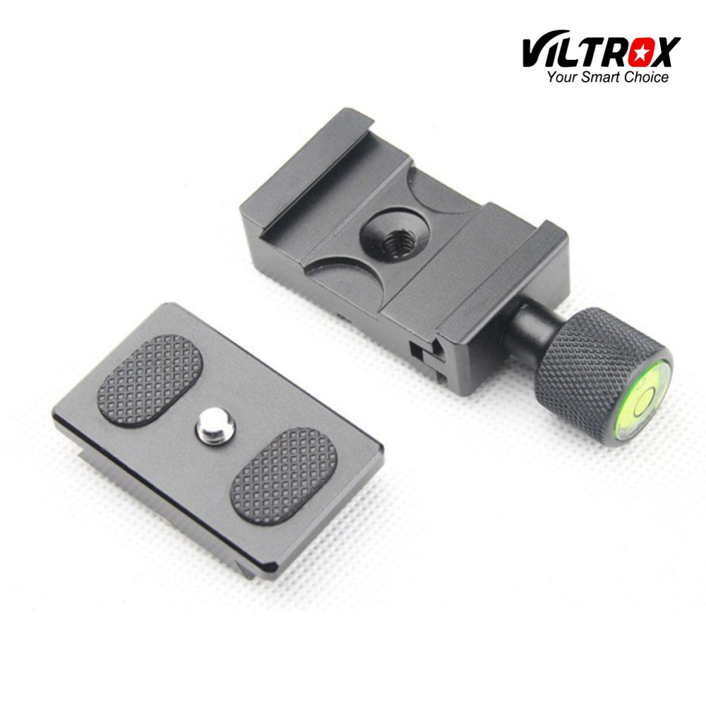 Viltrox 1/4 Vis Plateau Rapide + Clamp Mount Adapter + Niveau À Bulle pour Appareil Photo Trépied Manfrotto Rotule