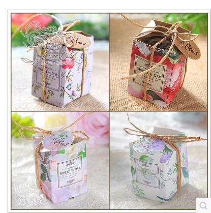 Pasayione 50pcs Kawaii Wedding Birthday Candy Boxes Containers For