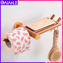 Wood Toilet Paper Holder with Shelf Aluminum Towel Creative Roll Rack Wall Mounted Tissue Hanger