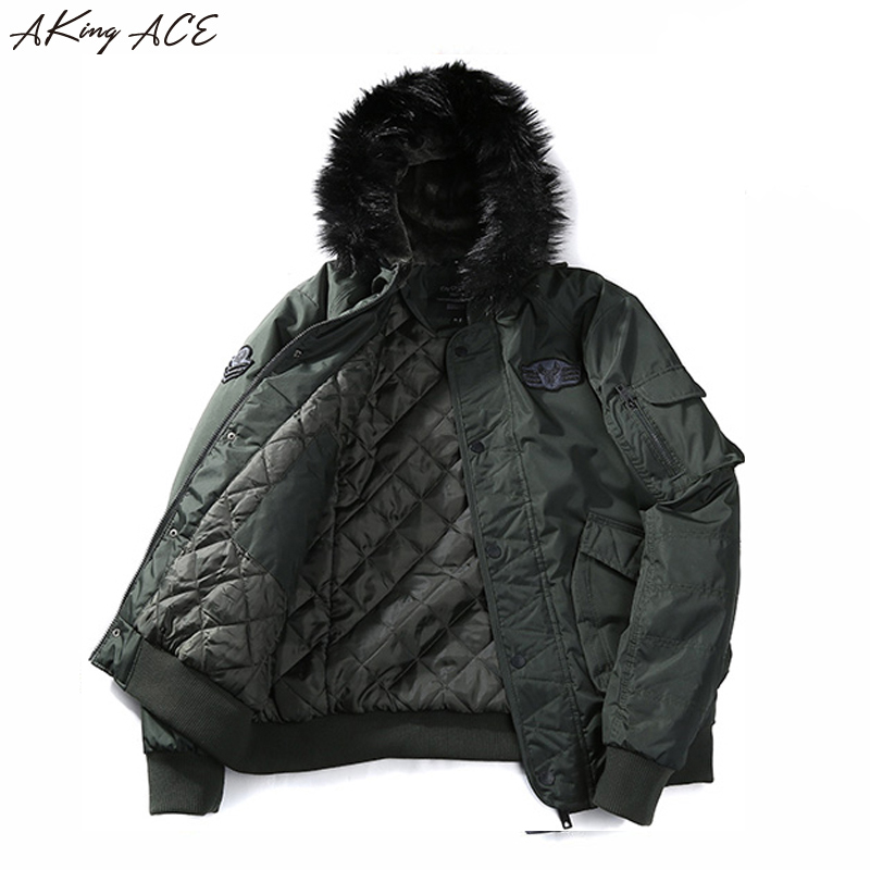 2017 AKing ACE Men's Warm Winter Military Jacket with Faux Fur Hood Men Army Style Parka Hooded Coat Jackets Hombre ZA307 45 zip up faux fur hood parka jacket