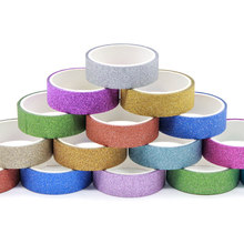 2rolls/pack DIY Self-adhesive Glitter Washi Paper Scrapbooking Tape Stickers Wedding Birthday Party Decorations Craft