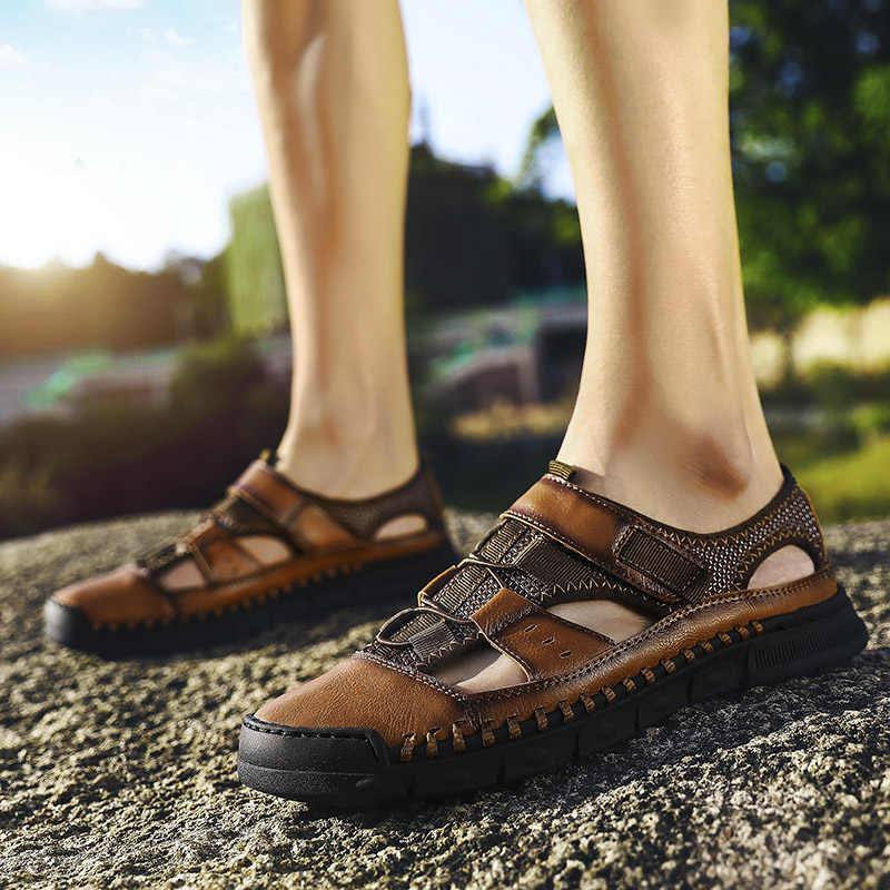 Nuevas sandalias de verano para hombre, sandalias de cuero de alta calidad para playa y exteriores, Calzado cómodo suave, zapatos de goma 2019, talla grande 46
