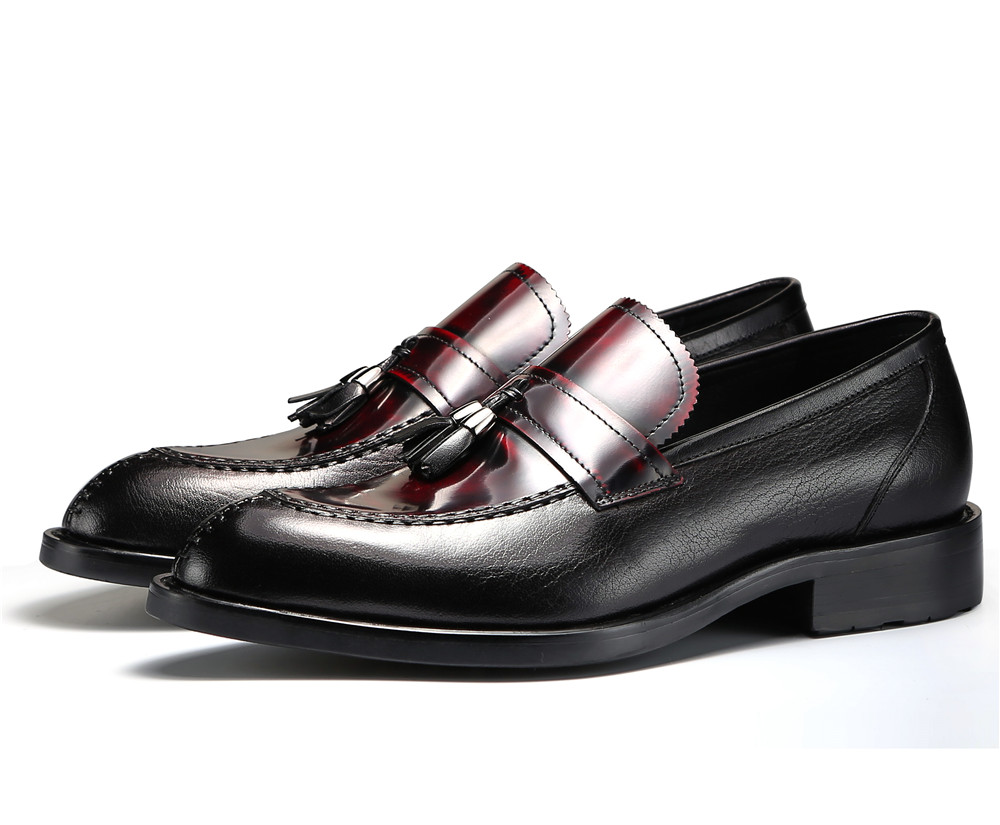 Fashion black / brown summer loafer shoes mens party shoes genuine leather wedding shoes mens casual shoes with tassel