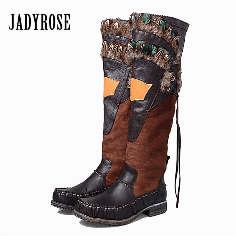 Jady Rose Chicken Feather Decor Women Long Botas Mujer Winter Knee High Boots Side Zipper Genuine Leather Platform Knight Boot