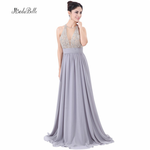 modabelle Sequin Beads Chiffon Evening Dresses Silver Gray Prom ...