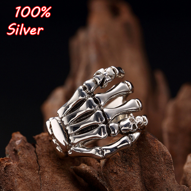 New 925 Sterling Silver Punk Style Ghost Evil Skeleton Hand Ring For Women Men Biker Ring Party Accessories Jewelry punk style pure color hollow out ring for women