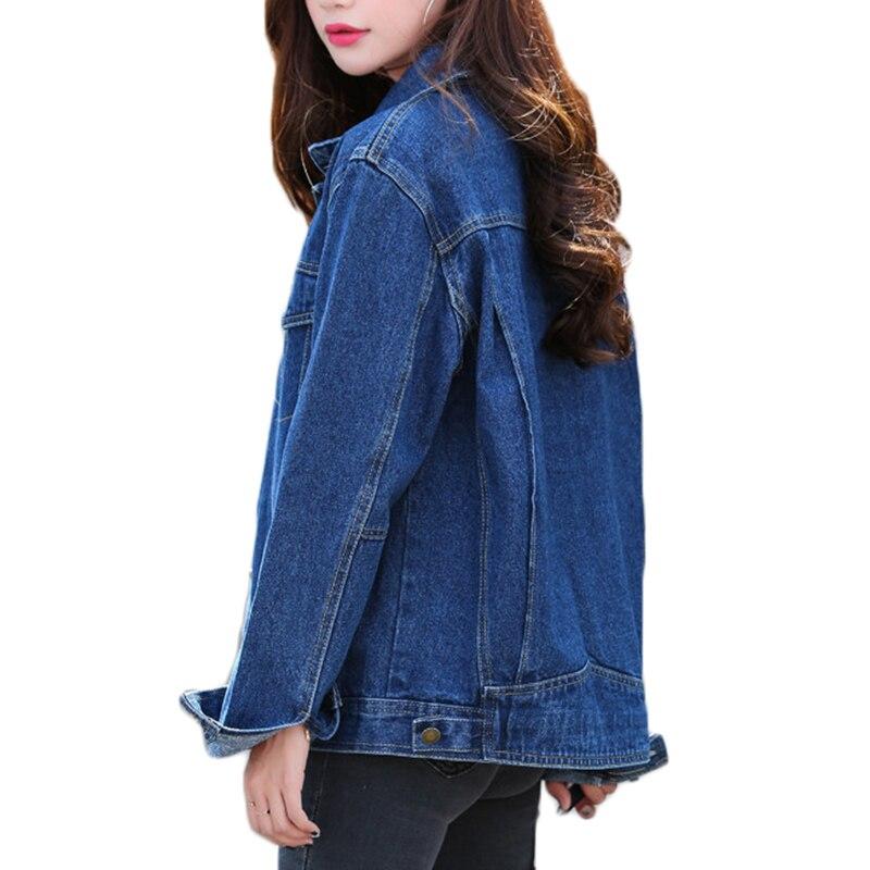 Image 2 - Las nuevas mujeres Denim chaqueta de primavera y otoño de manga  larga suelta básico rebelde abrigo de las mujeres Harajuku azul marino  chaqueta Jean corta abrigos A449chaquetas básicas
