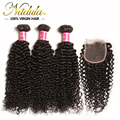 Cheap Human Hair Lace Closure With Bundles Free Part Brazilian Curly virgin Hair,Unprocessed Brazilian Virgin Hair with closure