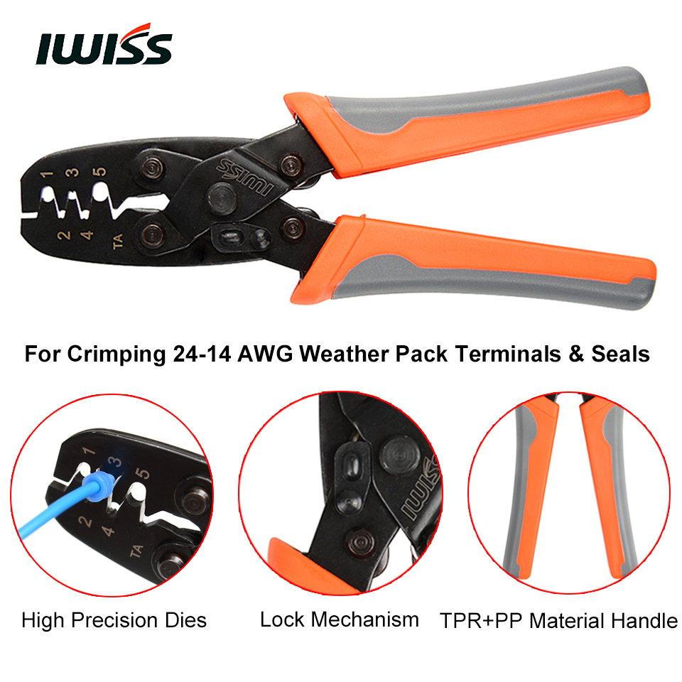 IWISS IWS-1424B Weather pack Crimper Tools for Crimping Delphi Packard  Weather pack Terminals or