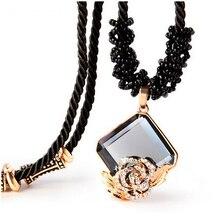 Alta calidad de moda collares largos para mujeres Crystal collares de la joyería clásica cadena de la cuerda del collar Jewellry