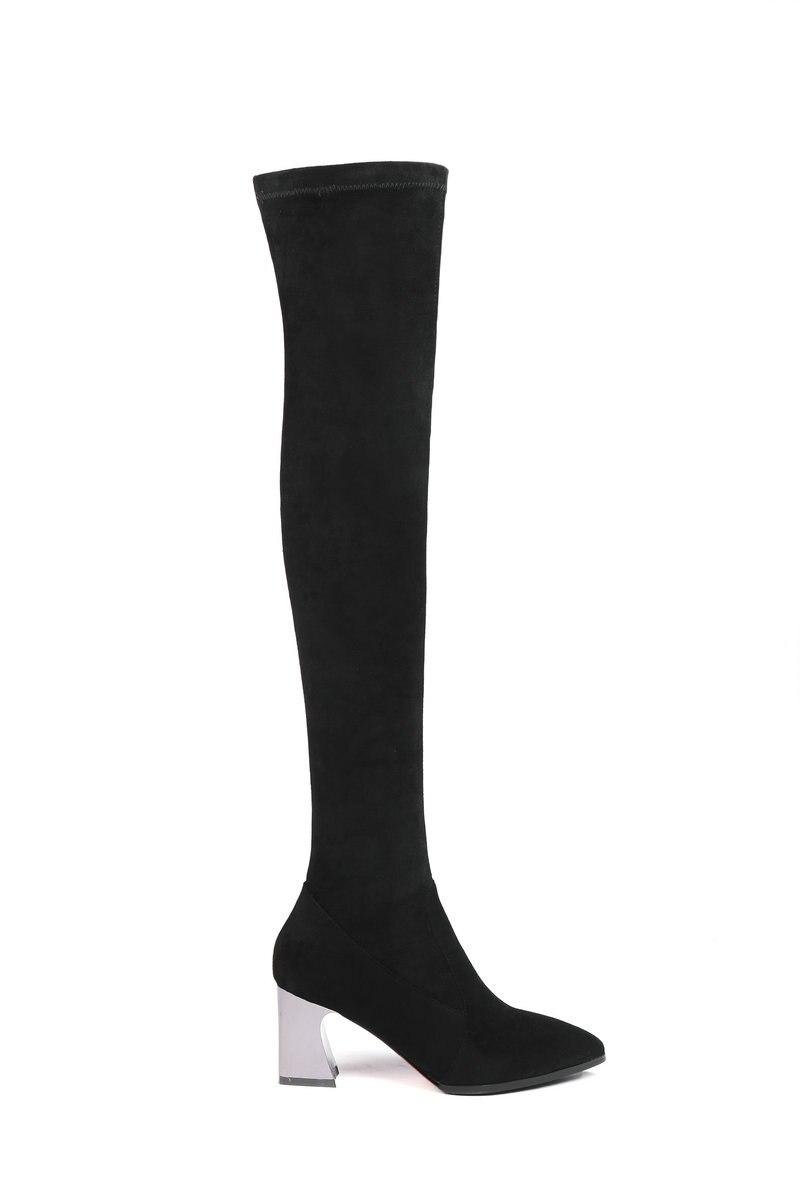 Au Le Chaussures Genou Bottes Sur Black Extensible Tissu Longues Femme Femmes Noir Pour Pointu Aiweiyi blackfur Glissent Bout Hautes D'hiver PqREx46pqw
