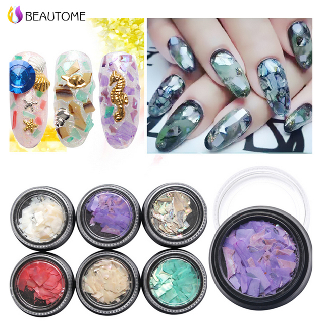 Korea Style Natural Dyeing Shell Rhinestone For Nail Art 6 Color