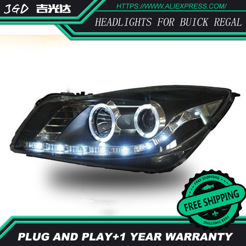 Car Styling Head Lamp for Buick Regal headlights 2009-2013 LED Headlight DRL Daytime Running Light Bi-Xenon Lens HID Accessories 2016 stainless steel car styling front cup holder panel sequins for buick regal 2009 2016 car accessories decoration sequins