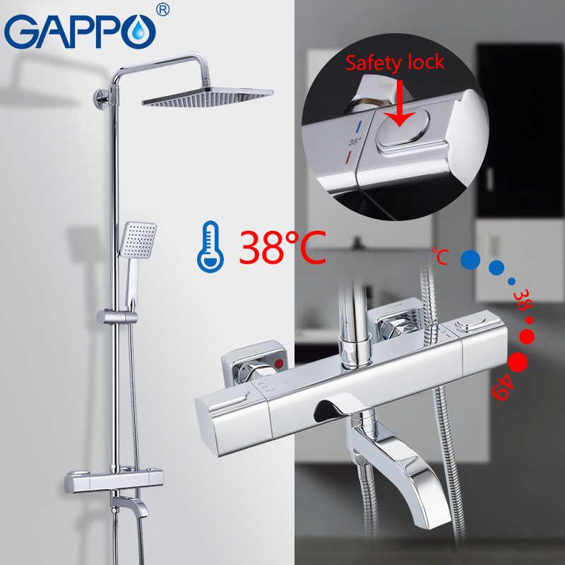 GAPPO ระบบห้องน้ำก๊อกน้ำ TAP เทอร์โมก๊อกน้ำน้ำตก Wall Mount ก๊อกน้ำชุด Rain Shower