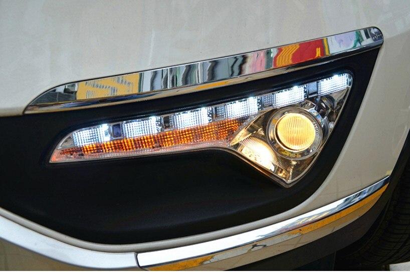 ФОТО Hireno Super-bright LED Daytime Running Light for KIA Sportage R 2011 2012 2013 2014 2015 2016 2017 Car LED DRL fog lamp 2PCS