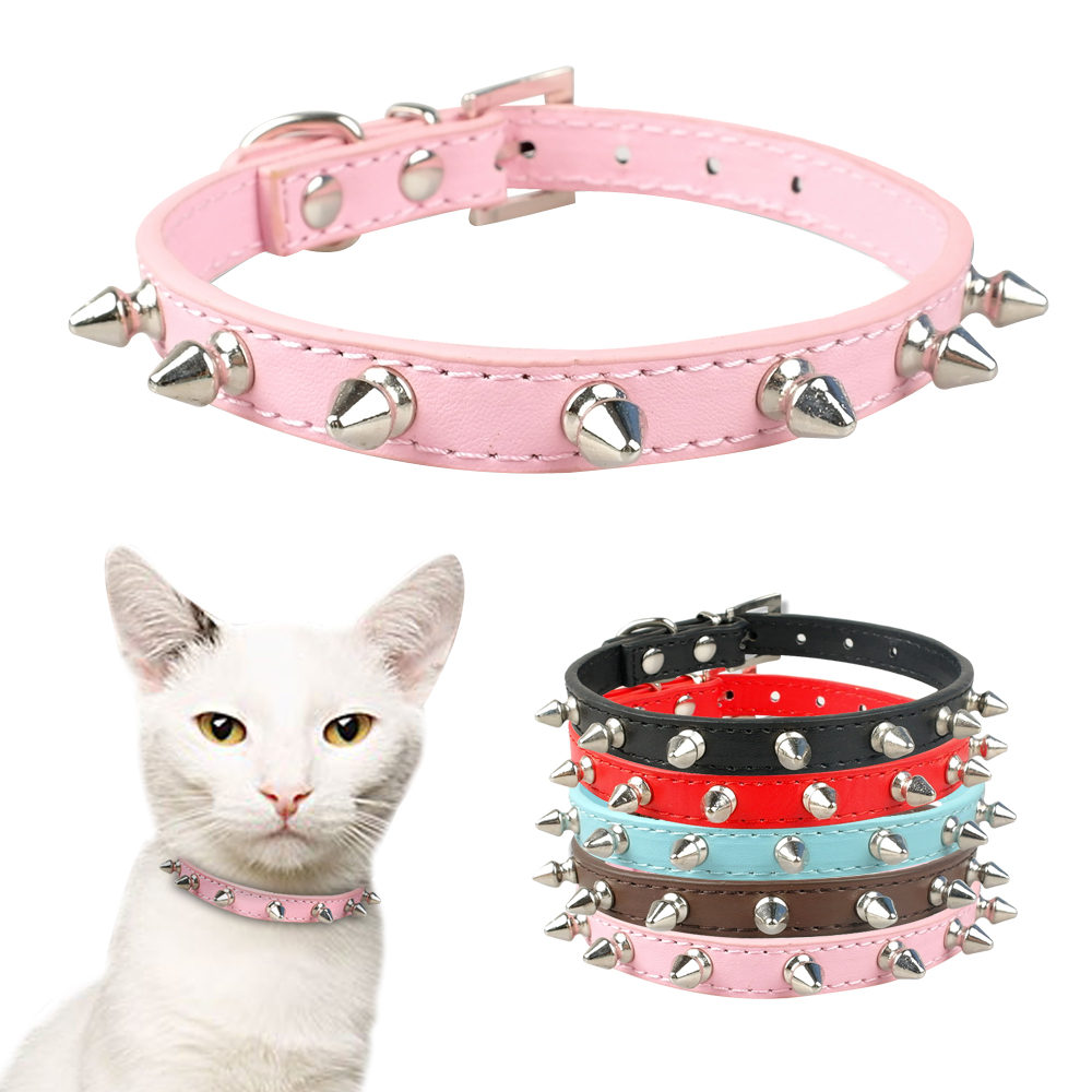 Cool Cat Dog Collar Cats Dog Leather Spiked Studded Collars For Small Medium Dogs Cats Chihuahua 5 Colors