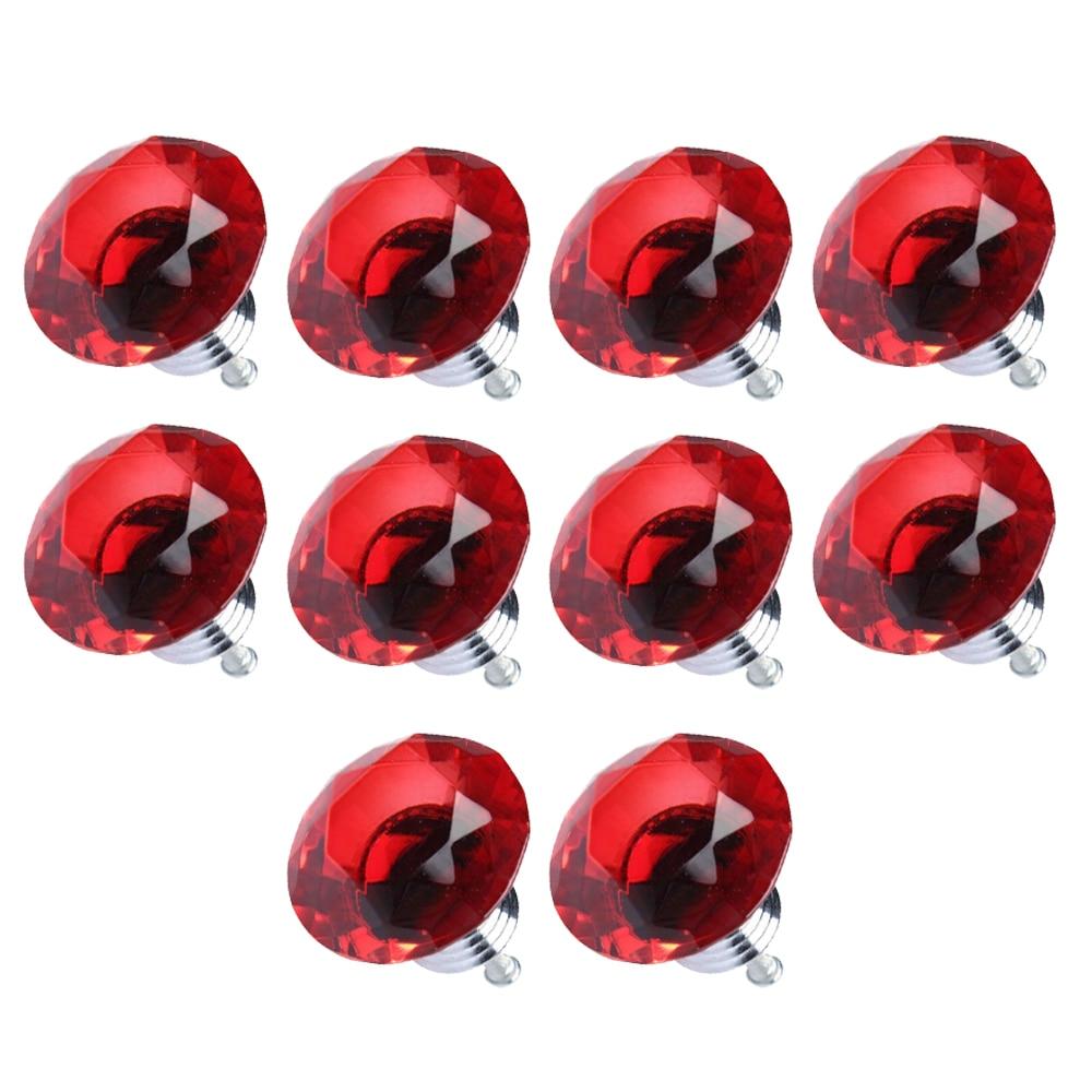 LHLL-10pcs Diamond Shape Crystal Glass Drawer Pull Handle Knob (Red)
