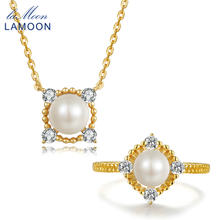 LAMOON 8mm 100% Natural Freshwater Pearl Jewelry 925 Sterling Silver Jewelry Pendant Jewelry Set V036-3(China)