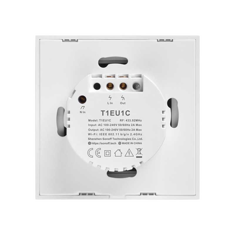 SONOFF nuevo T1 UE Wifi Smart Switch pantalla táctil remoto encendido/apagado 1/2/3 Gang 433 mhz RF/voz/aplicación/Control táctil 86 tipo Smart Home TX