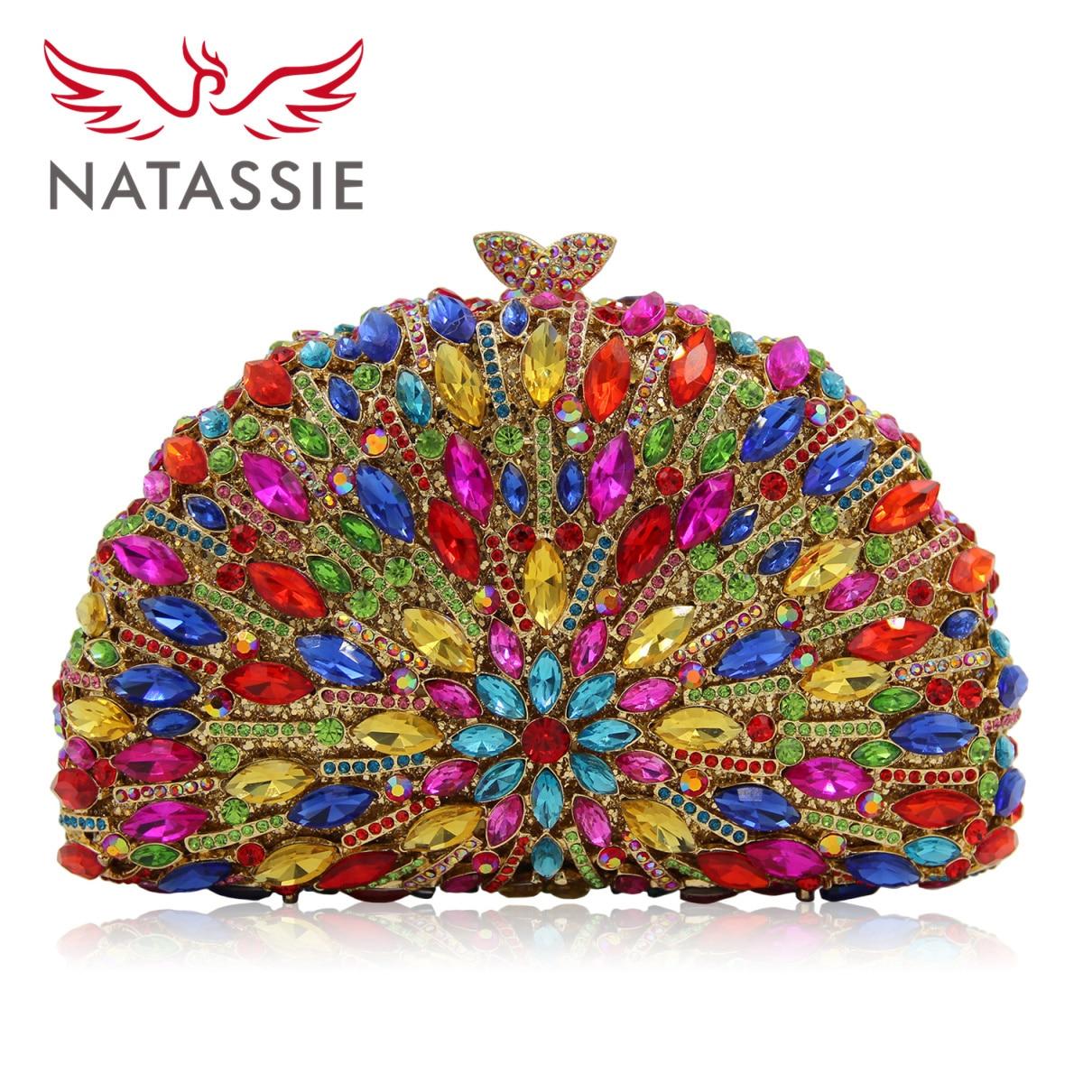 Natassie Women Luxury Rhinestone Clutch Evening Bags Ladies Crystal Wedding Purses Dinner Party Bag Gold