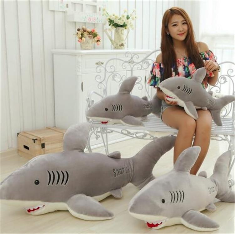 100 см гигантские акулы Плюшевые игрушки куклы для детей чучело Белая Акула подушка для влюбленных подарок - 4