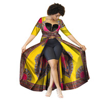 African Clothes for Women Danshiki Short Sleeve Trench Coat Traditional African Clothing Plus Size Bazin Rich Ankara Skirt