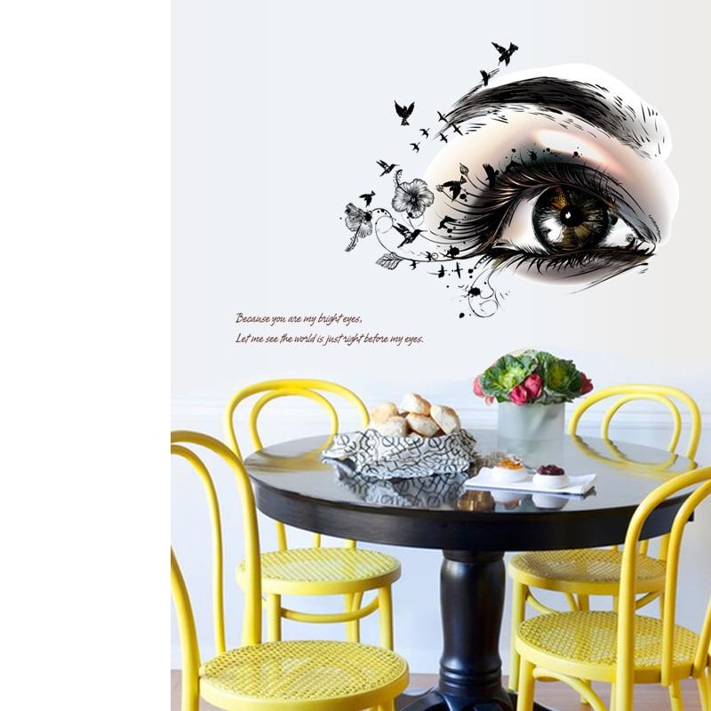 Beautiful Eyes Wall Stickers Home Office Decor Black Flowers Eyelash Birds Wallpaper Poster Wall