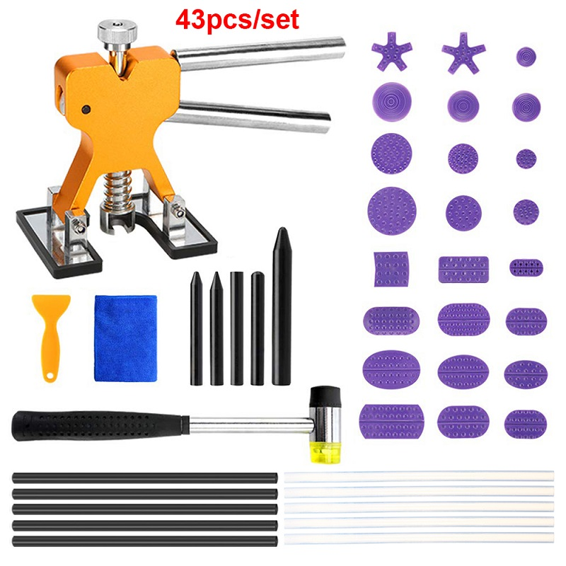 Car Body Paintless Dent Puller Set Dent Lifter Glue Tab Dent Lifter Removal Repair Tool Hammer Tap Down Tools For Car Motorcycle