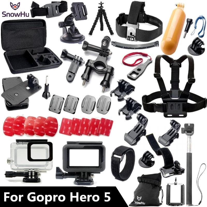 Prix pour SnowHu pour Gopro accessoires set Pour Gopro hero 5 étanche étui de protection poitrine mont Manfrotto pour go pro HERO 5 GS41