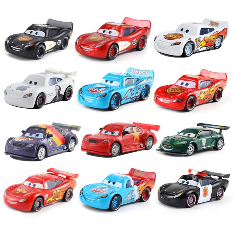 f8e53d130 Genuino raras coche Disney Cars 2 3 Rayo McQueen Mater Jackson tormenta  Ramírez 1:55 vehículo fundido de aleación de Metal chico juguetes