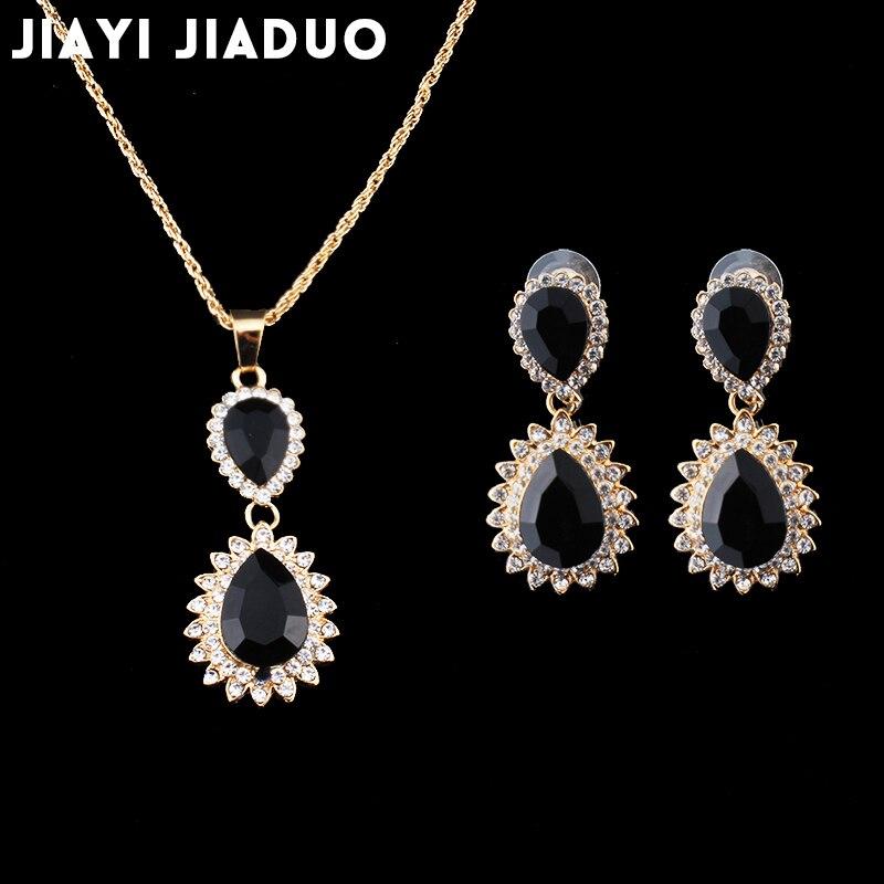 Jiayijiaduo Hochzeit Schmuck Set Gold Farbe Schwarz Kristall Halskette Für Frauen Anhänger Ohrringe Accessoriesdubai Schmuck Set Für Ausgezeichnete QualitäT In