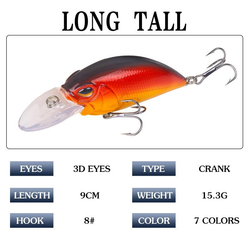 8PCS Topwater Fishing Minnow Fish Bass lure hook baits 11cm//10g