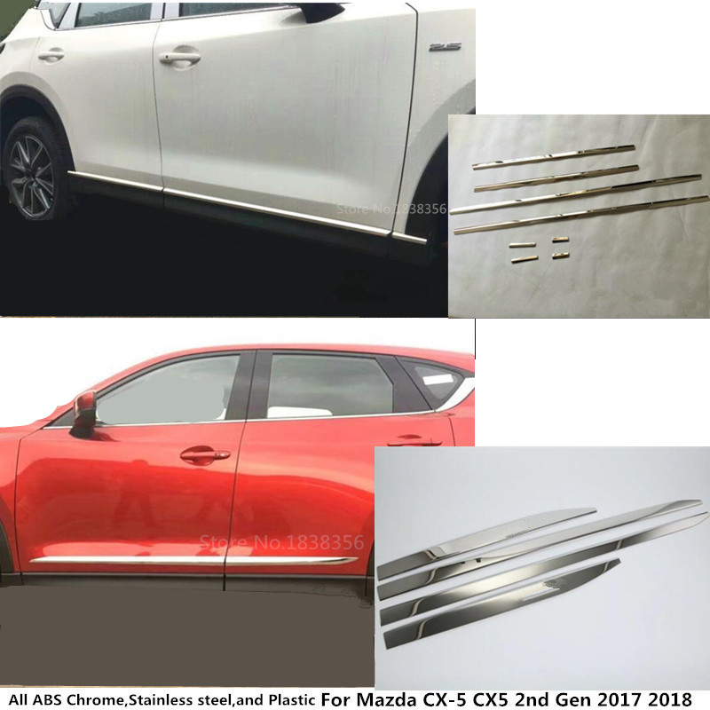 Hot sale Car Side Door trim Strip Molding Stream lamp panel bumper hoods moulding 4/6pcs For Mazda CX-5 CX5 2nd Gen 2017 2018 car stainless steel abs chrome side door body trim stick strip molding stream lamp panel bumper for toyota rav4 2016 2017 2018