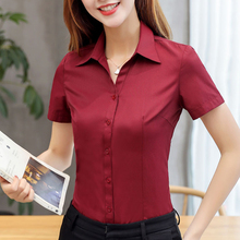 Womens Tops and Blouses Cotton Women Shirts Solid Women Blouses Short Sleeve Whi