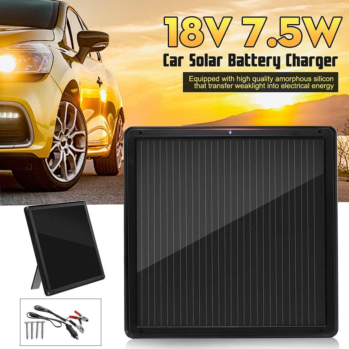18 V 7.5 W panneau solaire Trickle chargeur de batterie mainteneur pour voiture véhicule charge étanche plier Support Stand 337x337x17mm