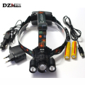 Zoom 3 LED Headlamps T6 + 2*R2 Head lamp Light 4 Modes for Bicycle Riding 8000 Lumens High Power LED Headlamp + Charger+USB