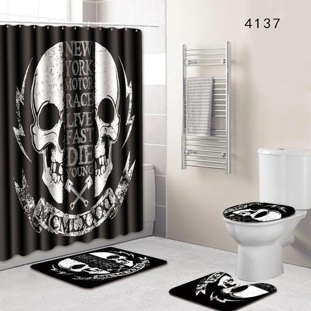 Skull Christmas Bathroom Shower Curtain And Rug Set Dropshipping 3D Toilet Mat Accessories Black White Carpet Doormat Rugs
