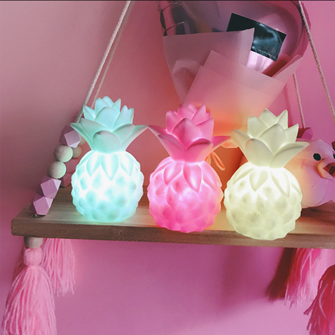 New 1pc Cartoon LED Night Light Pineapple Table Lamp Creative Gift For Friend Children Baby Light Yellow / Pink / Green