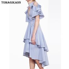 Sexy Backless Blue Striped Dress 2019 Summer Irregular Ruffles V Neck Flare Sleeve Women Dresses Elegant Party Slim