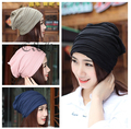 4 color High Quality Fashion Summer Solid  Fold Pile cap Women Beanies Knitted gorros Hip-Pop Skullies bonnet Hat For Adult