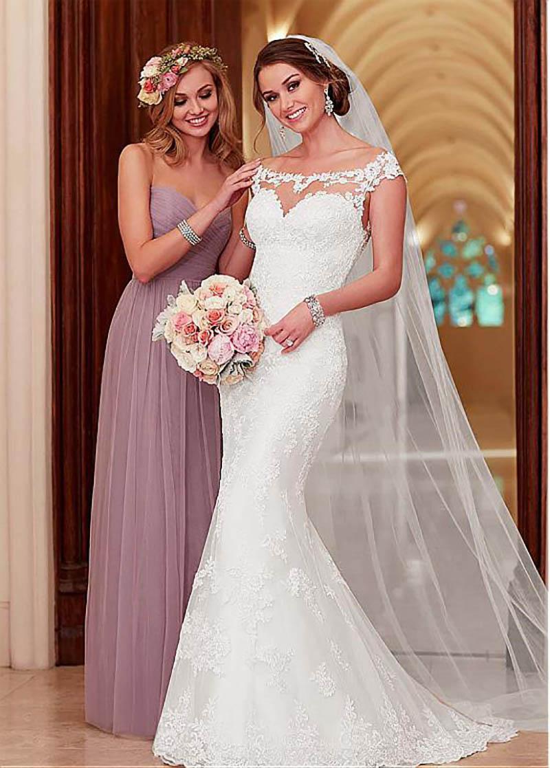 Sexy sirène robes de mariée dentelle Appliques Cap manches trompette robe de mariée turquie robes de mariée avec manches détachables