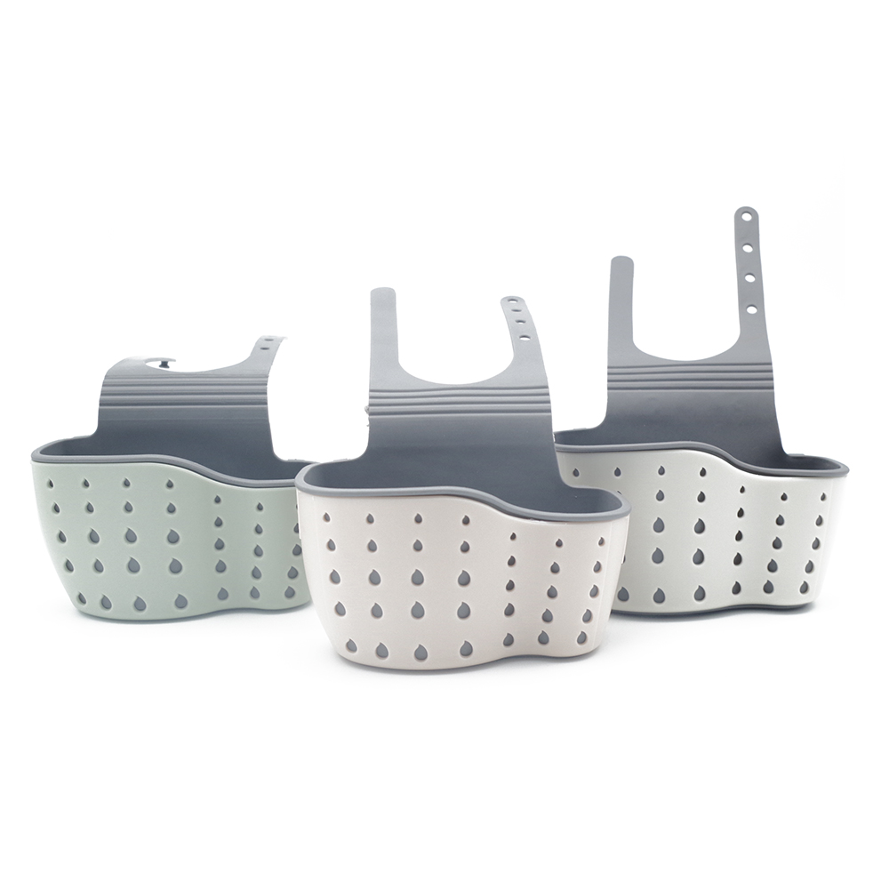 Double layer kitchen hanging storage basket ABS and TPR material sink faucet sponge hold ...