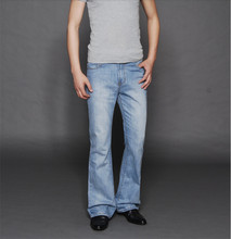 High Quality Promotion 2015 Men's high waist slim boot cut bell bottom jeans blue black four seasons pants 27-36