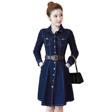 Autumn Denim Dress Temperament Fashion Waist Female Elegant Long Sleeves Solid Sashes A -line 2019 New Women