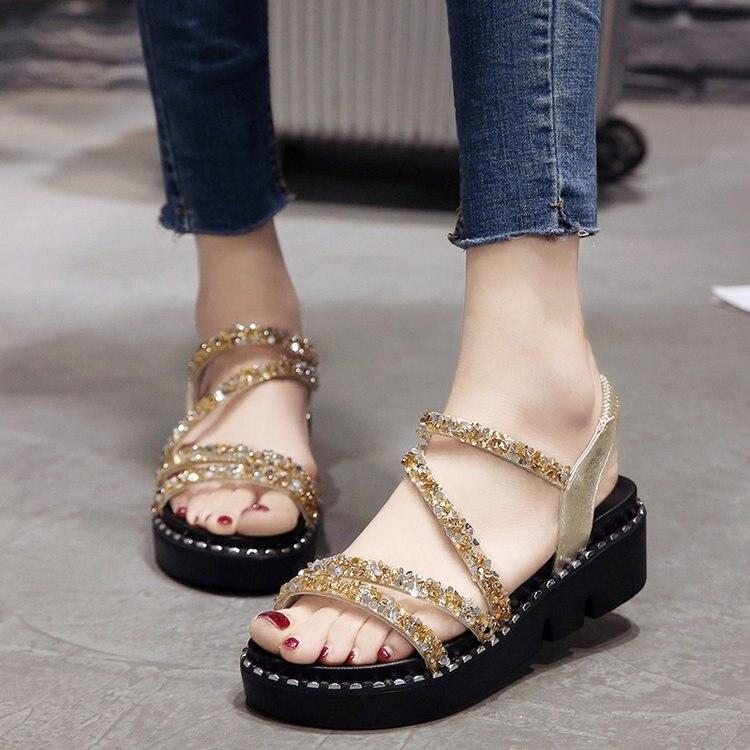 Sandals Women Shoes Platform Open-Toe Summer-Style Fashion Waterproof Sequin Casual Taiwan
