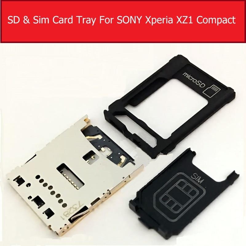Single Daul Sim Card Slot Tray For Sony Xperia XZ1 Compact G8441 SIM Card Tray + SD Card   Socket Reader Holder Repair Parts